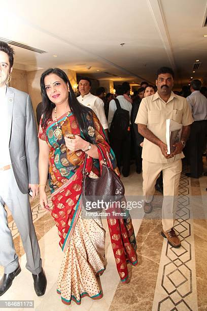 Pratibha Advani during Annaprashan ceremony of Subrata Roy's granddaughter Roshna on March 20 2013 in New Delhi India