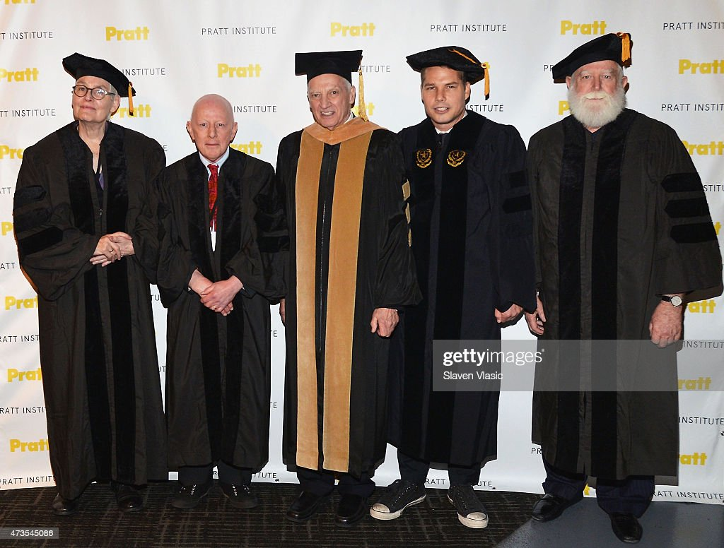 Pratt Insitute President Thomas F Schutte with Degree Recipients Alison Knowles Holland Cotter Shepard Fairey and James Turrell attend Pratt...