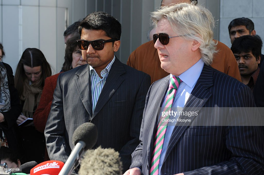 Praveen Halappanavar, husband of Savita Halappanavar and his legal team outside Galway City Hall, as the jury in the Savita Halappanavar inquest returned a unanimous verdict of death by medical misadventure against the HSE (Health Services Executive) on April 19, 2013 in Galway, Ireland. The jury heard that Mrs Halappanavar would probably still be alive today if the law had allowed an abortion. Savita Halappanavar was 17 weeks pregnant when admitted to University Hospital Galway on October 21, 2012, with an inevitable miscarriage. The 31 year old died a week later in intensive care from multi-organ failure from septic shock and E.coli, four days after she delivered a dead foetus.