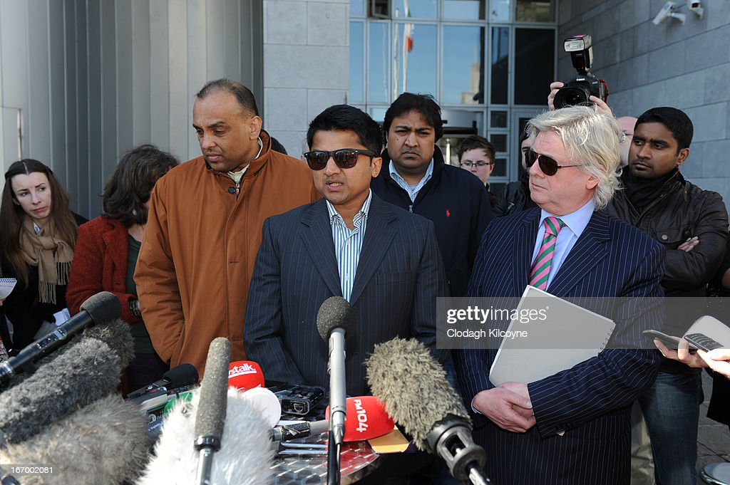 Praveen Halappanavar, husband of Savita Halappanavar speaks outside Galway City Hall, after the jury in the Savita Halappanavar inquest returned a unanimous verdict of death by medical misadventure against the HSE (Health Services Executive) on April 19, 2013 in Galway, Ireland. The jury heard that Mrs Halappanavar would probably still be alive today if the law had allowed an abortion. Savita Halappanavar was 17 weeks pregnant when admitted to University Hospital Galway on October 21, 2012, with an inevitable miscarriage. The 31 year old died a week later in intensive care from multi-organ failure from septic shock and E.coli, four days after she delivered a dead foetus.