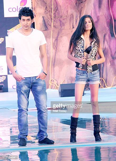Praveen Jain and Poonam Pandey at the launch of television reality show 'Fear Factor Khatron Ke Khiladi Torchaar' at Filmcity Goregaon on April 11...