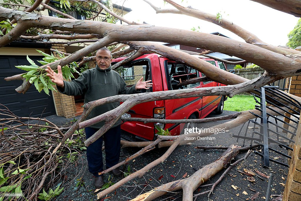 Pravindra Singh surveys the damage from a fallen tree on his property and vehicle on Terry Street, Blockhouse Bay on June 11, 2014 in Auckland, New Zealand. Cyclonic winds and heavy rainfall has caused damage across Auckland, Northland and Waikato. Storms resulted in wide ranging power outages and property damage.