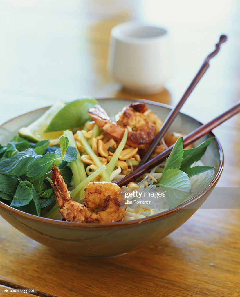 Prawn and rice noodle salad : Stock Photo