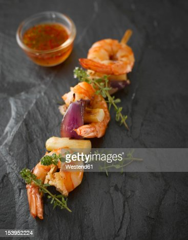 Prawn asparagus spit with thyme and sweet chili sauce : Stock Photo