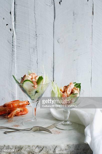 Prawn cocktail in glasses