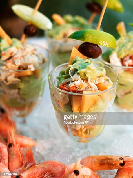 Prawn cocktail with papaya in glasses