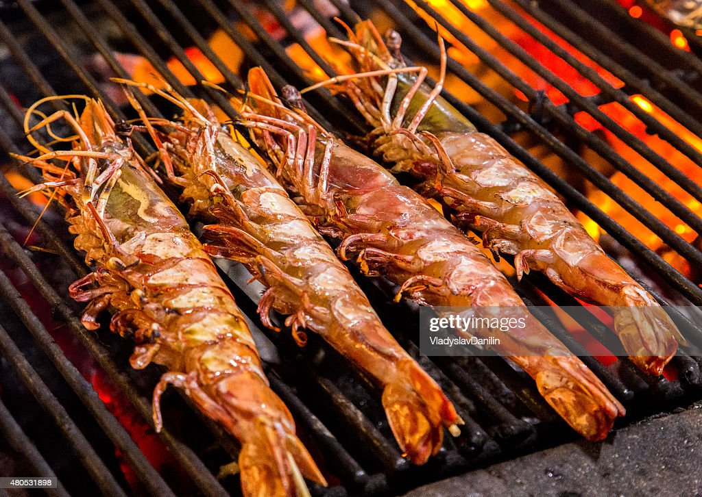 prawn Grill cooking seafood. : Stock Photo