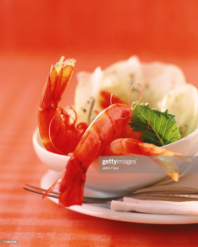 Prawns served on salad in bowl, close-up : Stock Photo