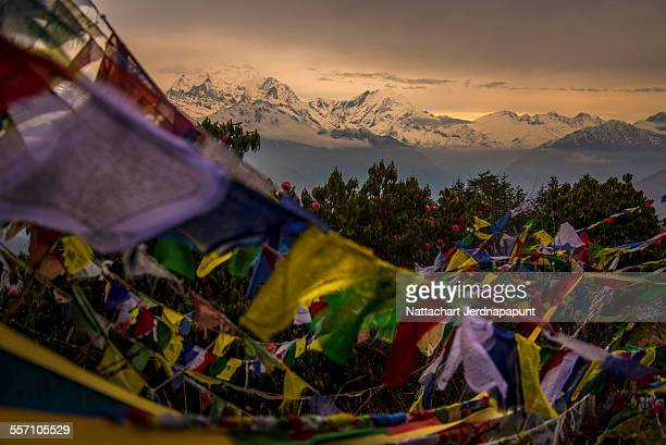 Pray flags with Himalaya mountain range