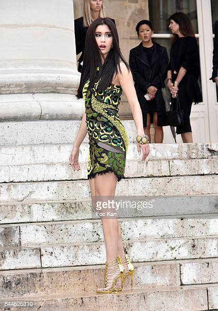 Praya Lundberg attends the Atelier Versace Haute Couture Fall/Winter 20162017 show as part of Paris Fashion Week on July 3 2016 in Paris France