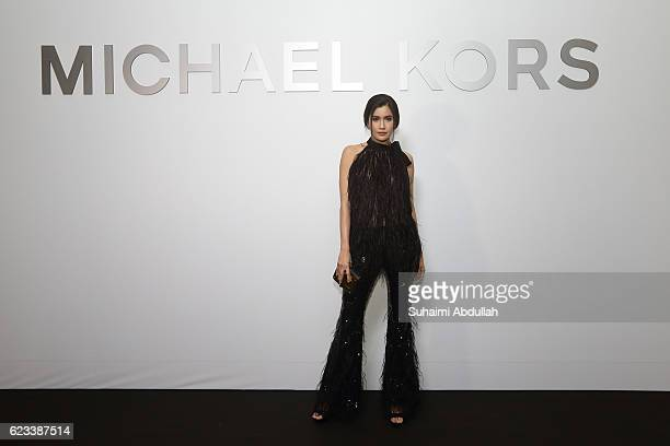 Praya Lundberg attends the Michael Kors Mandarin Gallery Flagship Store Opening Cocktail Party at Orchard Road on November 15 2016 in Singapore