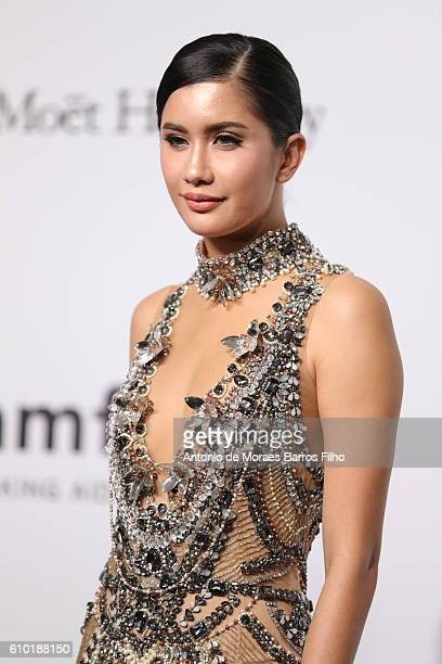 Praya Lundberg walks the red carpet of amfAR Milano 2016 at La Permanente on September 24 2016 in Milan Italy