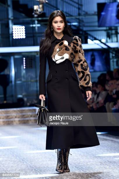Praya Lundberg walks the runway at the Dolce Gabbana show during Milan Fashion Week Fall/Winter 2017/18 on February 26 2017 in Milan Italy