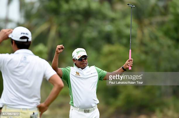 Prayad Marksaeng of Thailand celebrates a shot during round four of the Queen's Cup at Santiburi Samui Country Club on June 21 2015 in Koh Samui...