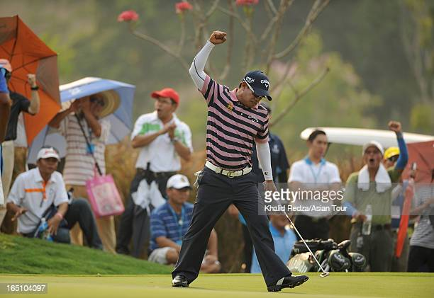 Prayad Marksaeng of Thailand celebrates during round three of the Chiangmai Golf Classic at Alpine Golf ResortChiangmai on March 30 2013 in Chiang...