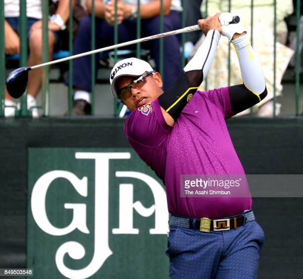 Prayad Marksaeng of Thailand hits a tee shot during the final round of the 27th Japan Senior Open Golf Championship at The Classic Golf Club on...