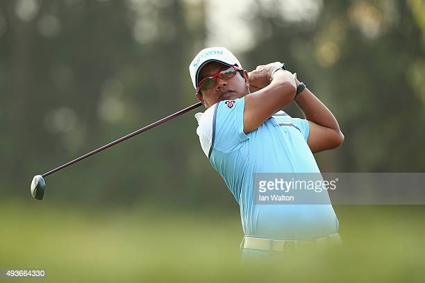 Prayad Marksaeng of Thailand in action during the first round of the UBS Hong Kong Open at The Hong Kong Golf Club on October 22 2015 in Hong Kong...
