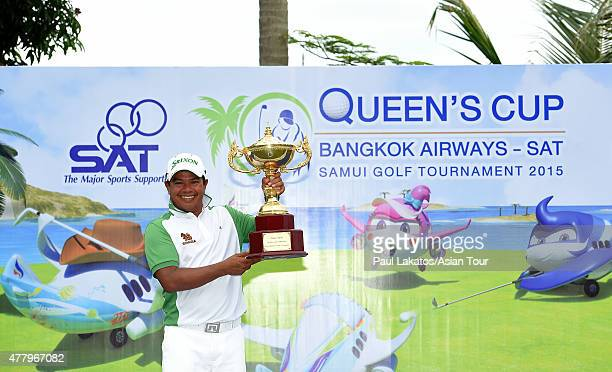Prayad Marksaeng of Thailand pictured with the winner's trophy during round four of the Queen's Cup at Santiburi Samui Country Club on June 21 2015...