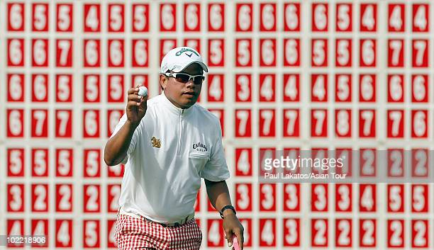 Prayad Marksaeng of Thailand plays a shot during day three of the Queens Cup as part of the Asian Tour at Santiburi Samui Country Club on June 19...