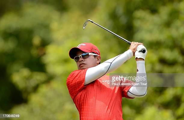 Prayad Marksaeng of Thailand plays a shot during round four of the Queen's Cup at Santiburi Samui Country Club on June 16 2013 in Bangkok Thailand