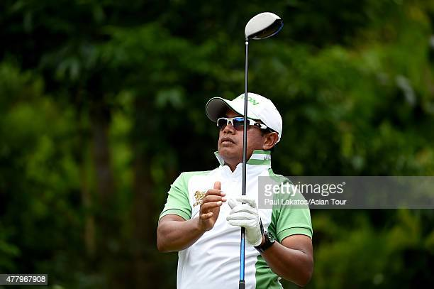 Prayad Marksaeng of Thailand plays a shot during round four of the Queen's Cup at Santiburi Samui Country Club on June 21 2015 in Koh Samui Thailand