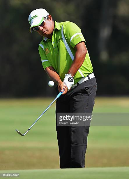 Prayad Marksaeng of Thailand plays a shot during the final round of the Hero India Open Golf at Delhi Golf Club on February 22 2015 in New Delhi India