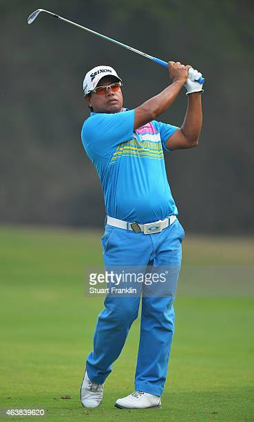 Prayad Marksaeng of Thailand plays a shot during the first round of the Hero India Open Golf at Delhi Golf Club on February 19 2015 in New Delhi India