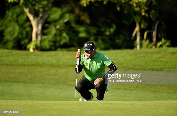 Prayad Marksaeng of Thailand plays a shot during the ProAm event ahead of the Leopalace21 Myanmar Open at Pun Hlaing Golf Club on January 25 2017 in...