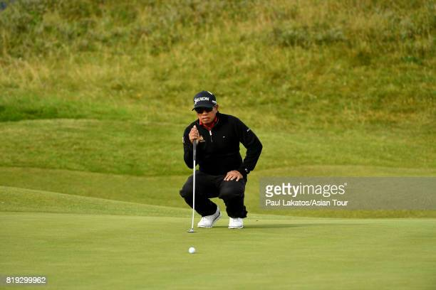 Prayad Marksaeng of Thailand plays a shot on hole 2 during the first round of the 146th Open Championship at Royal Birkdale on July 20 2017 in...
