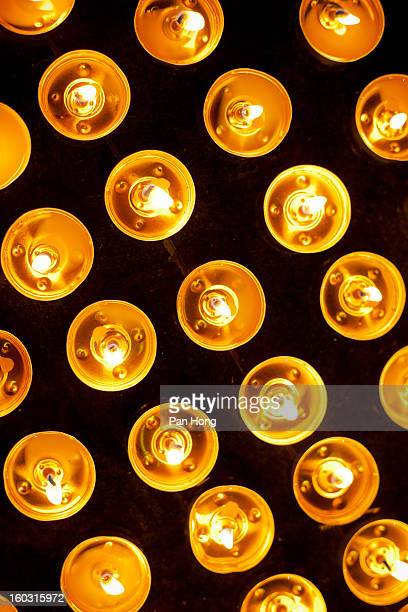 Prayer candles in temple