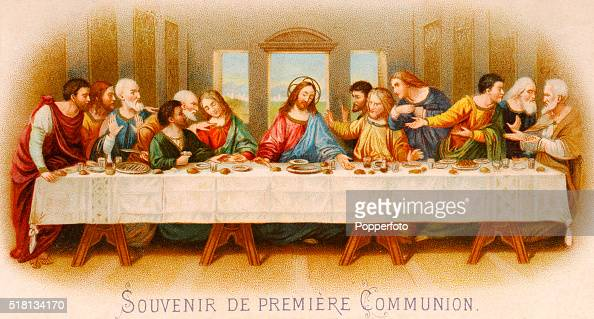A prayer card illustration depicting the Last Supper a remembrance of First Communion published circa 1900