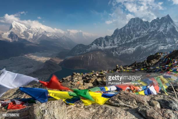 Prayer flag on top of Gokyo Ri, Everest region, Nepal