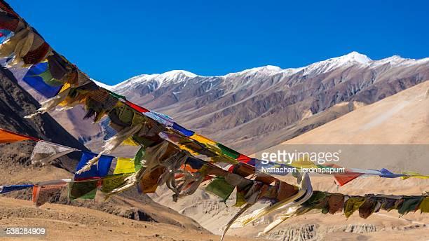 Prayer flag with snow mountain background