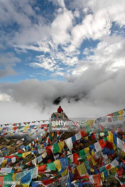 Prayer flags above Namche Bazar