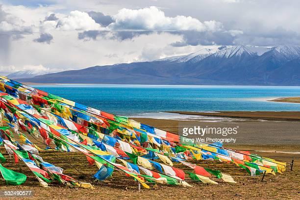 Prayer flags at Tangra Yumco, Tibet