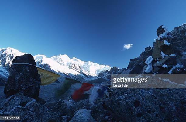 KANCHENDZONGA SIKKIM INDIA Prayer flags infront of Mount Kanchendzonga India's highest peak and at 8585 meters the world's third highest mountain To...