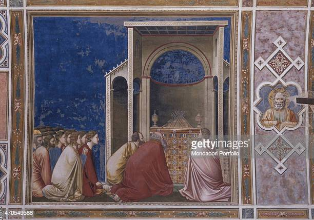 'Prayer for the Blossoming of the Branches by Giotto 13031305 14th Century fresco Italy Veneto Padua Scrovegni Chapel After restoration picture Whole...