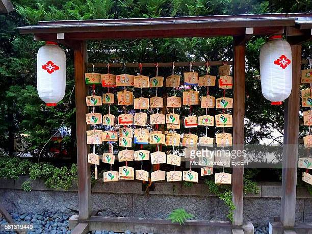 Prayer Labels Against Trees At Temple