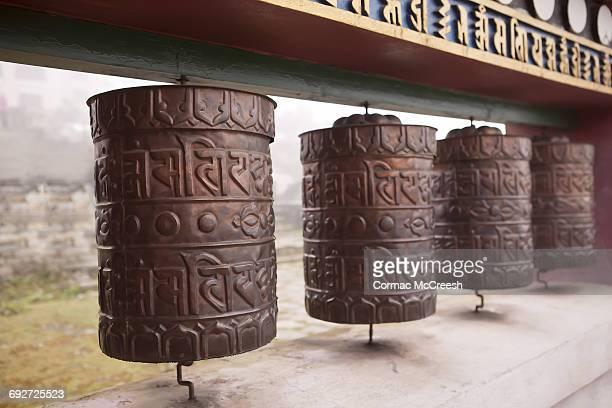 Prayer wheels, Tengboche, Nepal