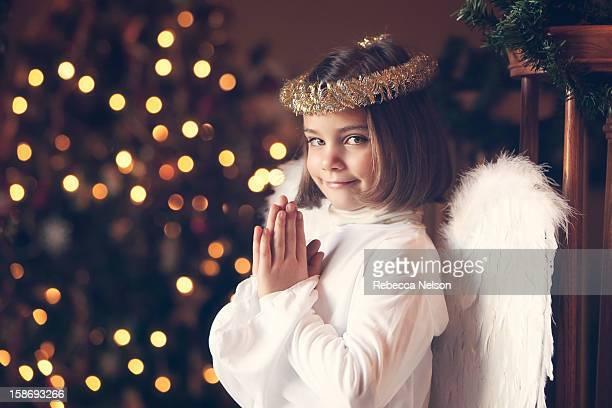Praying Little Girl in Angel Costume