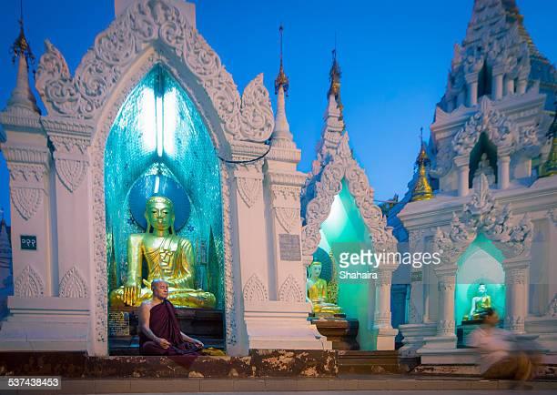 Praying Monk at Schwedagon Pagoda