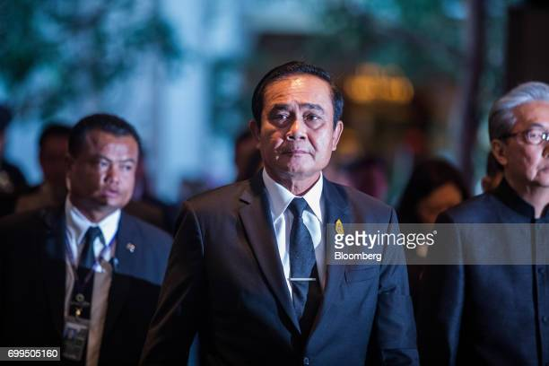Prayuth ChanOcha Thailand's prime minister center arrives at the Thailand's Big Strategic Move forum in Bangkok Thailand on Thursday June 22 2017...