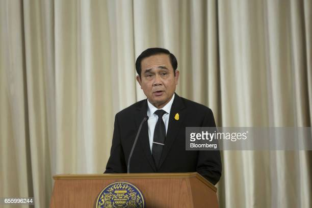 Prayuth ChanOcha Thailand's prime minister speaks during a news conference at Government House in Bangkok Thailand on Tuesday March 21 2017 Duterte...