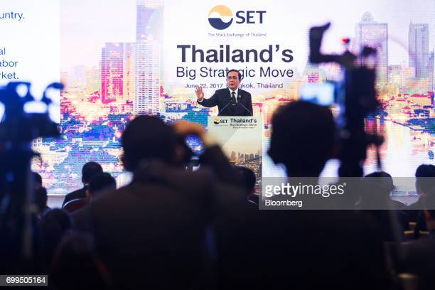 Prayuth ChanOcha Thailand's prime minister speaks during the Thailand's Big Strategic Move forum in Bangkok Thailand on Thursday June 22 2017...