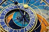 Detail of famous astronomical clock Prazski orloj (Prague, Czech Republic)