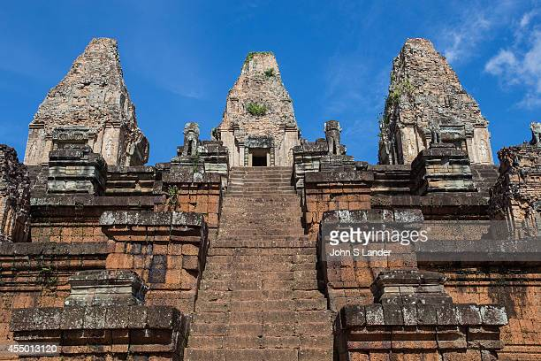 Pre Rup at Angkor Archeological Park was dedicated to Shiva the Hindu god Its laterite and brick give it a reddish color The temples name means turn...