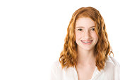 """""""High key image of a pretty preteen girl with long red hair and brown eyes. Room for Copy.Color space is ProPhoto, RGB, processed from a 16 bit RAW image.View Similar Images Here:"""""""