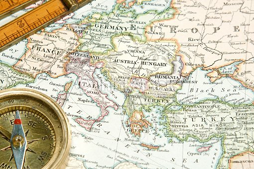 Pre World War 1 Map Of Europe With Compass And Ruler Stock Photo ...
