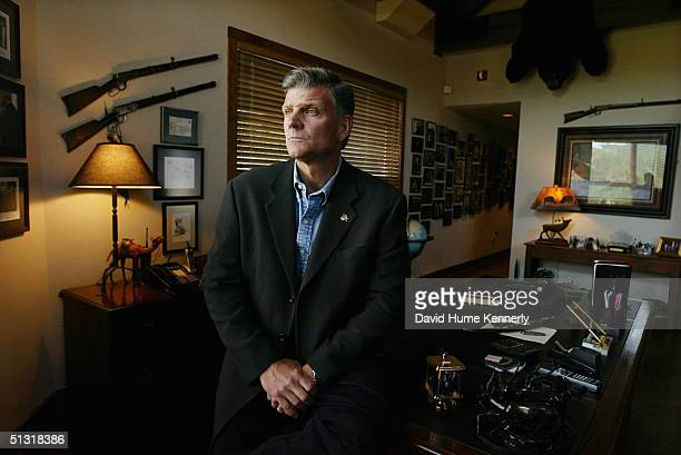 Preacher Franklin Graham poses at his home office on June 6 2003 in Boone North Carolina