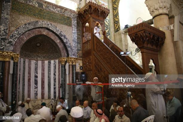 Preacher Sheikh Muhammed Selim Muhammad Ali conducts Friday sermon at Al Aqsa Mosque after lifting of Israeli restrictions on AlAqsa in Jerusalem on...